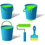 Bucket with paint. And brush on the white Stock Images