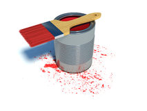 Bucket with paint and brush Royalty Free Stock Photos