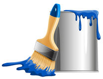 Bucket of paint and brush. Bucket of blue paint and brush. Vector illustration Stock Photography