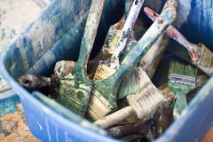 A Bucket of Paint Brushes Royalty Free Stock Photo