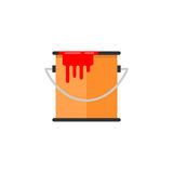 Bucket of paint flat icon, build repair elements Royalty Free Stock Photo