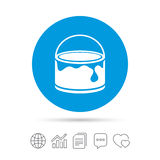 Bucket of paint icon. Painting works sign. Stock Photography