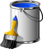 Bucket of paint and paintbrush Royalty Free Stock Photos
