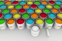 Bucket with paint and roller Royalty Free Stock Photos