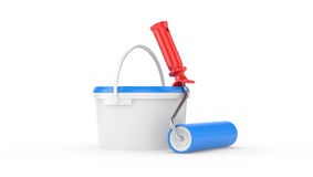 Bucket with paint and roller brush Royalty Free Stock Image