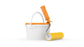 Bucket with paint and roller brush Royalty Free Stock Photo
