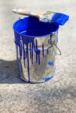 Bucket and paint to paint the walls of the house Stock Photography