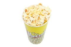 Bucket with pop corn. Isolated with clipping path Royalty Free Stock Photos