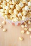 Bucket of popcorn. Striped bucket of popcorn aerial shot stock photo