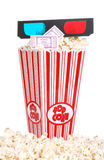 Bucket of popcorn with 3D glasses and movie ticket Stock Photography