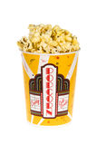 Bucket of popcorn. A piping hot bucket of movie popcorn isolated on a white background stock images