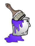 Bucket of purple paint Royalty Free Stock Photography