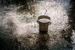 Bucket in the rain. Old metal bucket in the rain, used to collect water Royalty Free Stock Images