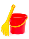 Bucket with rake Royalty Free Stock Photos