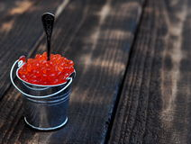 Bucket of red caviar Royalty Free Stock Images