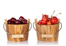 Bucket with red cherries Royalty Free Stock Image