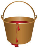 Bucket with red paint Royalty Free Stock Image