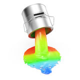 Bucket with rgb paint. On white background. 3d render Stock Images