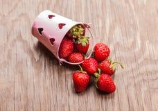 Bucket of ripe strawberries Stock Photo