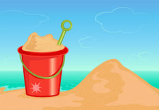Bucket of sand. On the beach illustration Royalty Free Stock Photography
