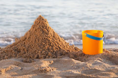 Bucket and the sand Royalty Free Stock Image