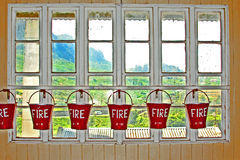Bucket with sand  for fire fighting Stock Images