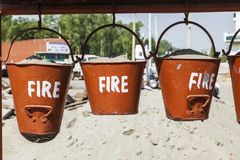 Bucket with sand in a petrol station for fire fighting Royalty Free Stock Photo