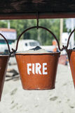 Bucket with sand in a petrol station for fire fighting Stock Photography