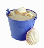 Bucket with sand and shell Stock Images