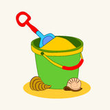 Bucket of sand. Toy bucket and spade  vector illustration of sandpit kit in sand Stock Photos