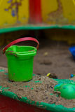 Bucket in the sandbox stock image