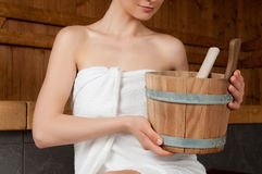Bucket for sauna Stock Photo