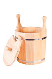 Bucket for sauna. Traditional set for Russian sauna from ecological materials Stock Photography