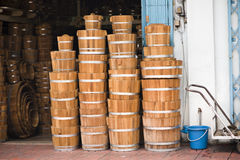 Bucket shop. A specialty shop that sells wooden water buckets in bangkok, thailand Stock Photo