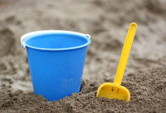 A bucket and a shovel Royalty Free Stock Image