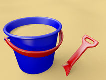 Bucket, shovel and sand Royalty Free Stock Photos
