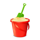 Bucket shovel and sand Royalty Free Stock Images