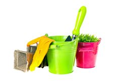 Bucket, Shovel, Seeds, Dlay Isolated on White Royalty Free Stock Photo
