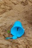 Bucket, shovel, toys in sandbox Royalty Free Stock Photography