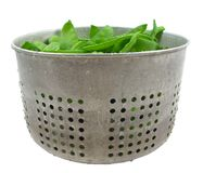 Bucket of snow peas Royalty Free Stock Photo
