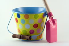 Bucket and Spade. Ready for a trip to the beach Stock Photo
