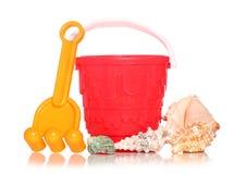 Bucket and spade with seashells Stock Image