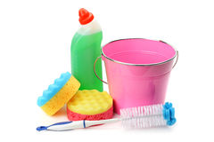 Bucket, sponges and chemical products for cleaning isolated Royalty Free Stock Image