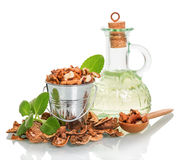 Bucket, spoon with shelled walnuts, oil bottle and shell isolated. Stock Photos