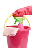 Bucket with spray cleaner Royalty Free Stock Photography