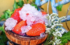 Bucket of strawberries with crushed ice royalty free stock photos