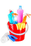 Bucket stuffed with objects for cleaning house Stock Images