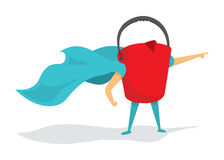 Bucket super hero standing with cape Royalty Free Stock Image