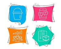 Bucket, Teamwork results and Phone messages icons. Parcel checklist sign. Set of Bucket, Teamwork results and Phone messages icons. Parcel checklist sign Stock Image