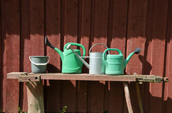 Bucket and three watering pots with red wooden wall background Royalty Free Stock Photo